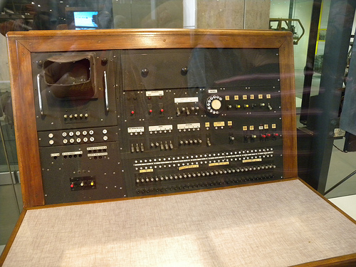 The control console for the Pilot Ace on display at the Science Museum.